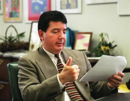 In 2000, Hartford school superintendant Anthony Amato shows his approval while viewing the results of the Connecticut Mastery Tests in his office. The city's schools made dramatic gains in reading and math that could lift Hartford out of last place in the state.