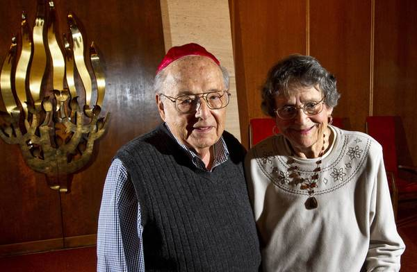 Helping Rodef Sholom's Temple celebrates its Centennial this year are longtime members Abe and Ernzstine Firestone. Abe has been a member since 1946 and Ernzstine has been a member since 1926 when she was born.