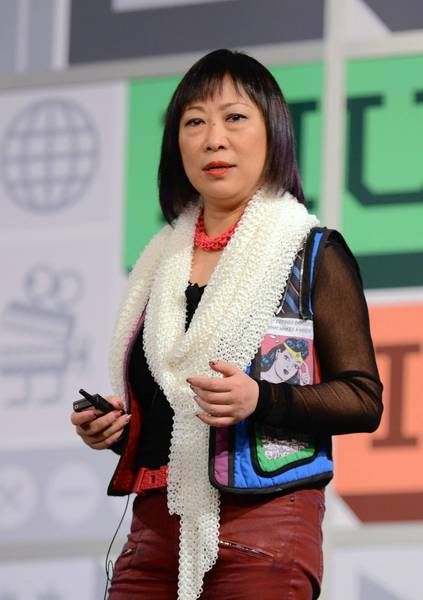 "Ping Fu, cofounder of Geomagic, appears onstage in Texas last March. Fu's memoir, titled ""Bend Not Break: A Life in Two Worlds"" has been targeted by an online compaign that says much of her account of China's Cultural Revolution was untrue."
