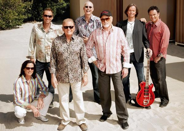 John Cowsill, Christian Love, Bruce Johnston, Randell Kirsch, Mike Love, Scott Totten and Tim Bonhomme of the Beach Boys.