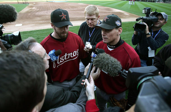 CHICAGO - OCTOBER 21: Jeff Bagwell #5 (L) and Craig Biggio #7 of the Houston Astros speak to members of the media before a workout on October 21, 2005 at U.S. Cellular Field in Chicago, Illinois. The Astros begin play in the World Series Saturday night against the Chicago White Sox.