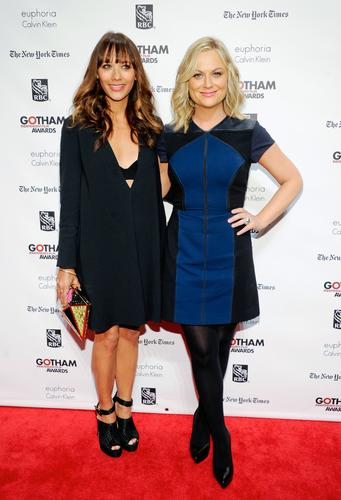 Actresses Rashida Jones, left, and Amy Poehler arrive at the 23rd Gotham Independent Film Awards at Cipriani's Wall Street in New York on Monday.