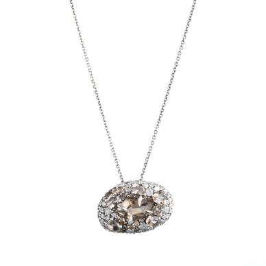 "This Smoky Gold Marquis pendant necklace from Alexis Bittar Fine features smoky quartz surrounded by gray and brown pavé diamonds. ($895, <a href=""http://www.alexisbittar.com/fine/pndnt-qtz-pave-in-smoky-qtz-di-fn33n041.html""&g"