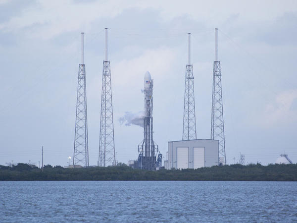 SpaceX's Falcon 9 rocket in Cape Canaveral, Fla, prepares to launch.