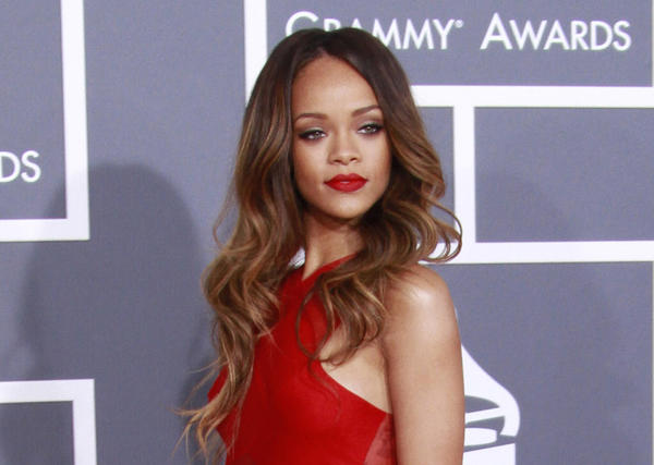 Rihanna rocked matte red lips at the 55th Annual Grammy Awards.