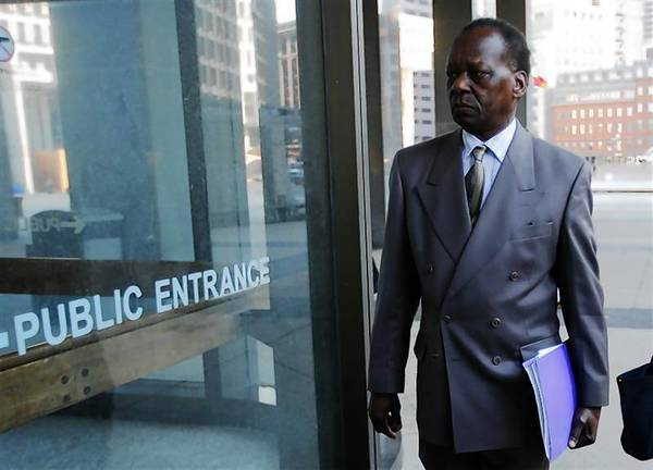 Onyango Obama, the uncle of President Barack Obama, arrives for a hearing at a federal immigration court in Boston.