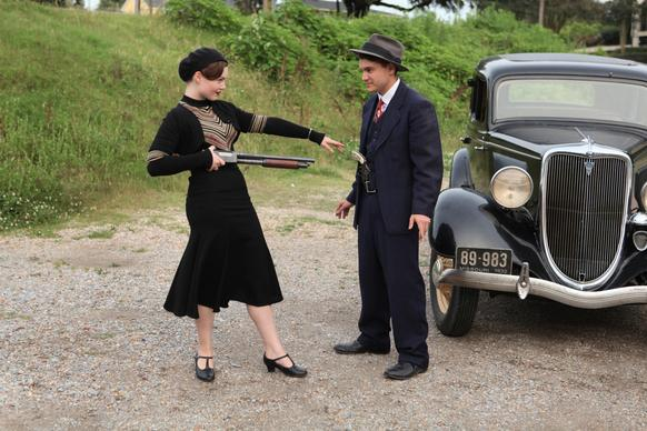 "Holliday Grainger and Emile Hirsch star as Bonnie Parker and Clyde Barrow in the new miniseries ""Bonnie & Clyde."""