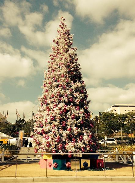 the christmas tree in downtown las grand park covered in fake snow