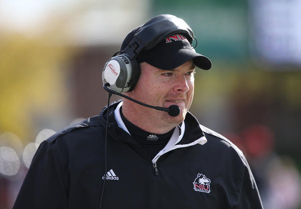 Northern Illinois head coach Rod Carey walks the sidelines during a game against Eastern Michigan in October.