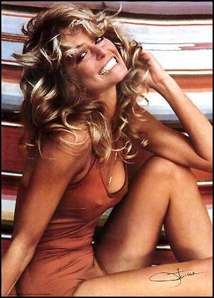 Farrah Fawcett and her famous red bathing suit.