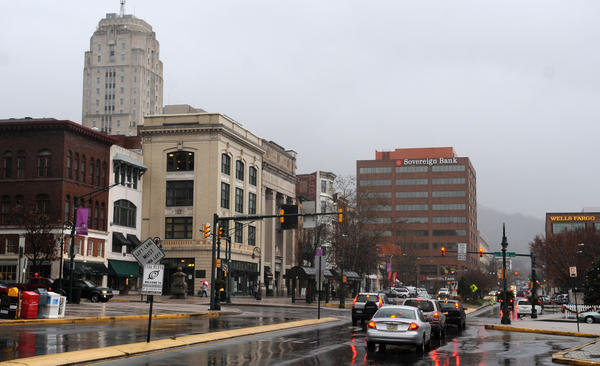 A view of downtown Reading from Penn Street. The city is vying for two City Revitalization and Improvement Zone designations that will be handed out this year.