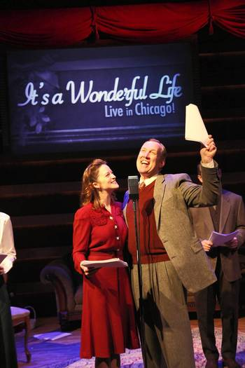 "Gwendolyn Whiteside (Mary Bailey) and Kevin R. Kelly (George Bailey) in a scene from American Blues Theater's ""It's A Wonderful Life."""