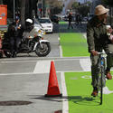 Film-unfriendly green paint in the Spring Street bike lane