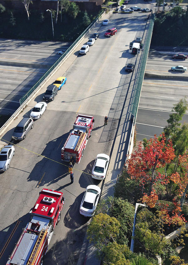 Police shut down the Ventura (134) Freeway overpass at Louise Street on Sunday to search a van which had been modified to carry up to 500 gallons of gasoline.