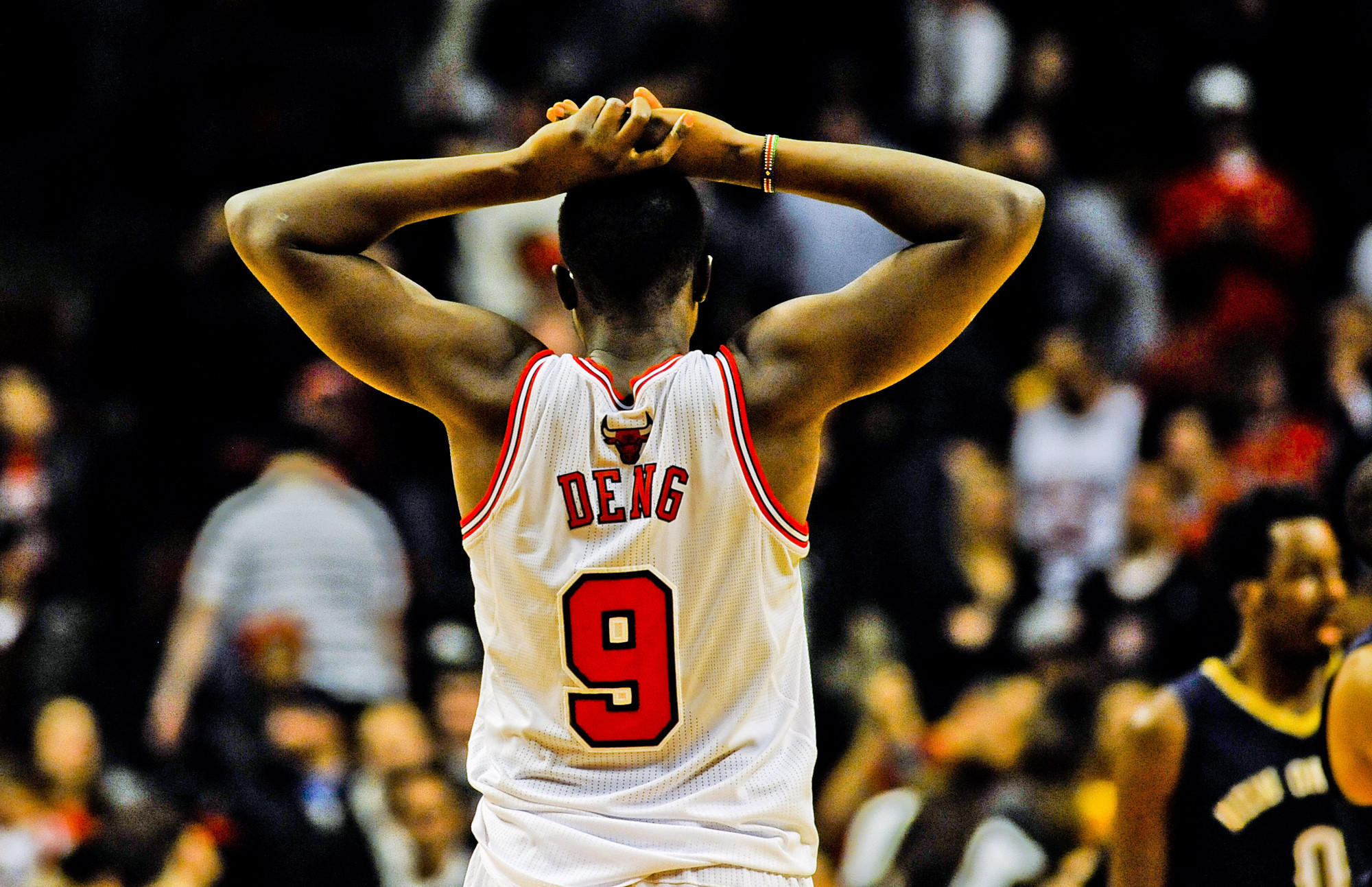 Luol Deng reacts at the end of the third overtime of the Bulls' game against the Pelicans.