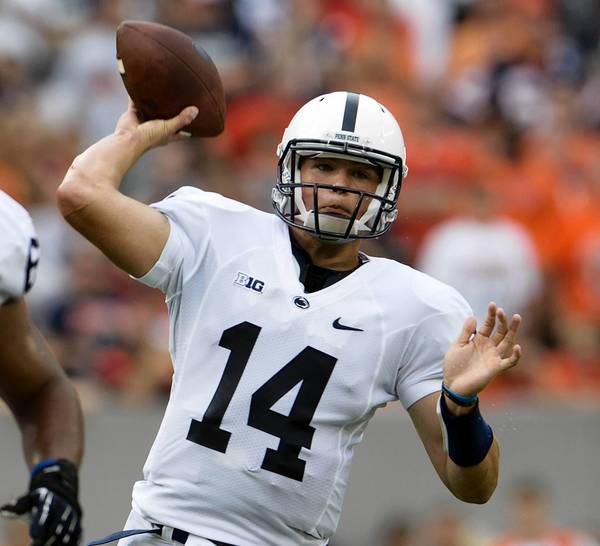 Penn State Nittany Lions quarterback Christian Hackenberg (14) passes against the Syracuse Orange at MetLife Stadium in East Rutherford, NJ, on Saturday, August 31, 2013.