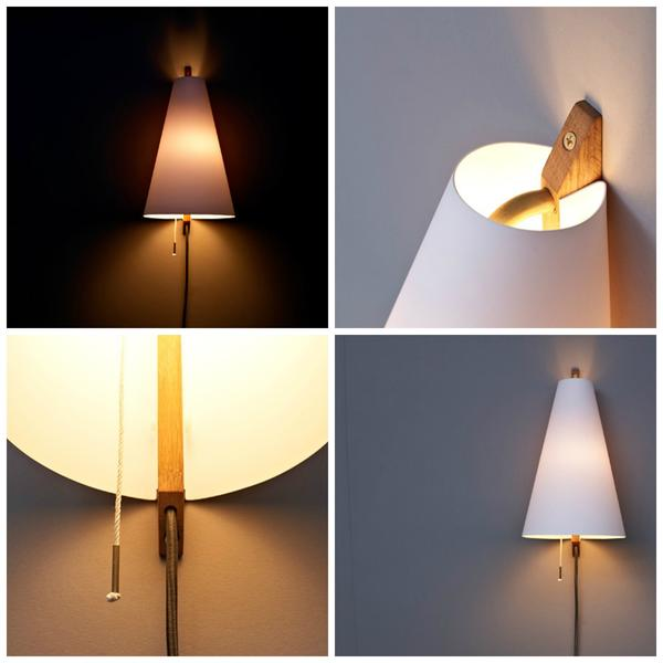 Brendan Ravenhill's hood sconce has a white oak base and white matte shade.