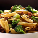 Pasta with Italian sausage and broccoli.