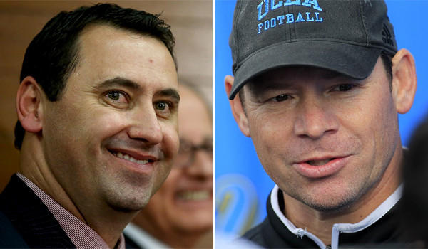 Steve Sarkisian was introduced as USC's new football coach Tuesday, while at nearly the same time UCLA Coach Jim Mora's contract extension was announced.