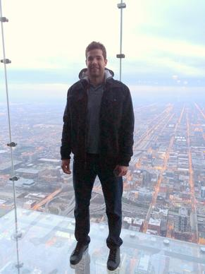 Blackhawks' Corey Crawford visits The Ledge in Willis Towers' Skydeck Dec. 2, 2013.