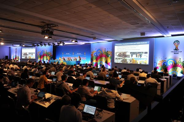 General view the press conference about security in the 2014 FIFA World Cup Brazil in Costa do Sauipe, state of Bahia, Brazil, on December 4, 2013. The 2014 FIFA World Cup Brazil final draw will take place on December 6.