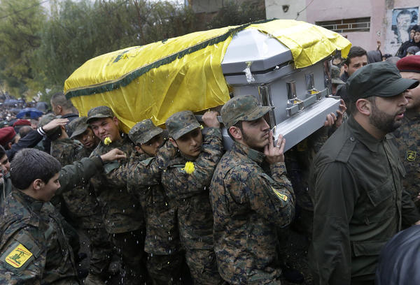 Funeral for slain Hezbollah commander in Lebanon