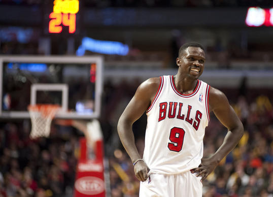 Luol Deng reacts after scoring a basket against Charlotte on Nov. 18.