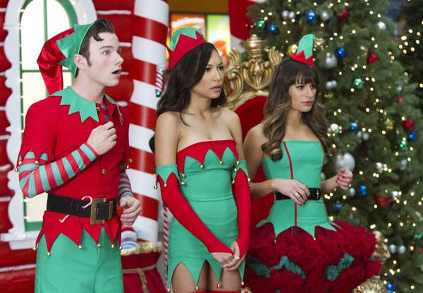 "Chris Colfer, left, Naya Rivera and Lea Michele in ""Glee"" on Fox."