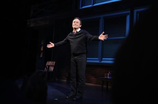 "Billy Crystal at an opening-night curtain call for ""700 Sundays"" at Broadway's Imperial Theatre."