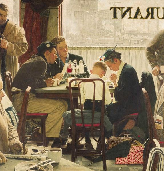 "Norman Rockwell's 1951 painting ""Saying Grace"" broke auction records at Sotheby's in New York on Wednesday when it sold for a record $46 million."