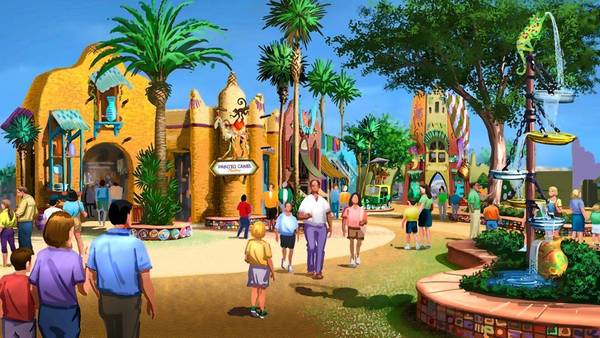 Busch Gardens' under-construction Falcon's Fury, a drop ride, will be the centerpiece of Pantopia, a re-imagining of the Timbuktu area.