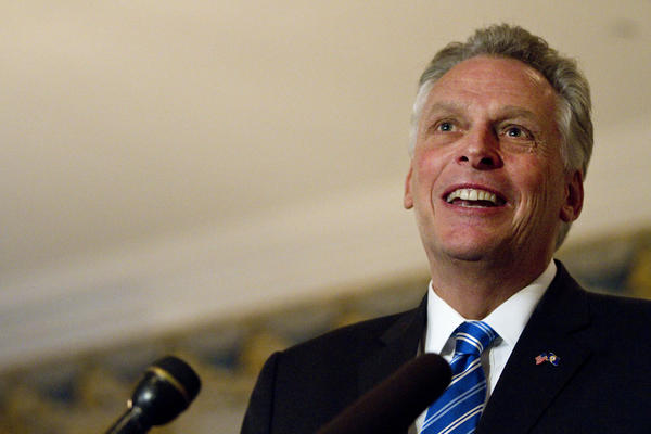 File photo: Governor-Elect Terry McAuliffe speaks during a press conference inside the Executive Mansion on Thursday, Nov. 7 in Richmond.