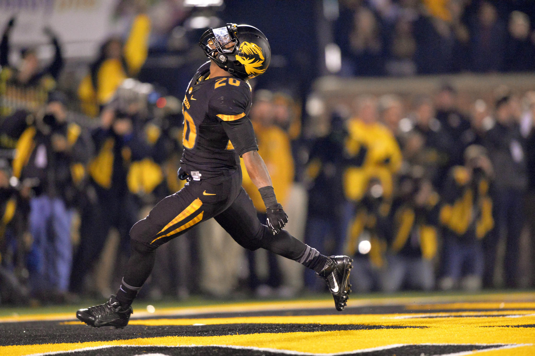 Missouri running back Henry Josey celebrates after rushing 57-yards for a touchdown against Texas A&M.