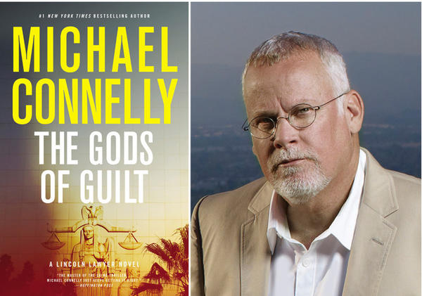 """The cover of """"The Gods of Guilt"""" and author Michael Connelly."""