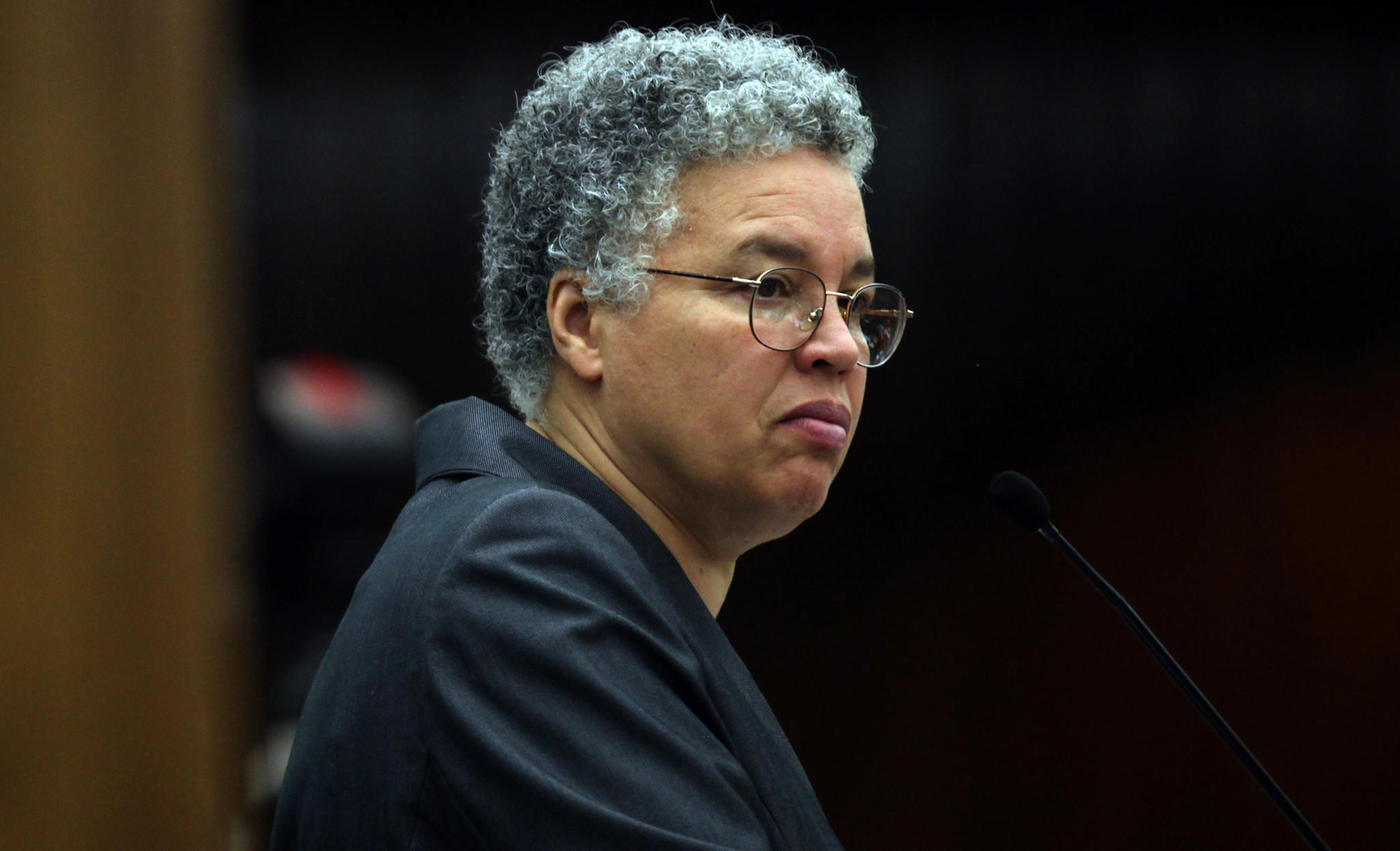 Cook County Board President Toni Preckwinkle runs a County Board meeting in November 2011.