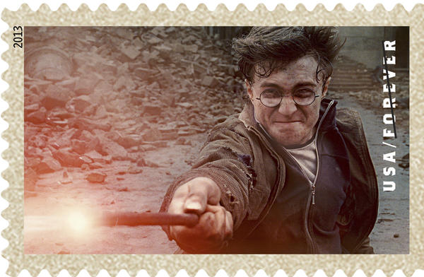 The U.S. Postal Service is scheduled Tuesday to release 20 postage stamps honoring Harry Potter; the selection of the British boy wizard is creating a stir in the cloistered world of postage stamp policy.