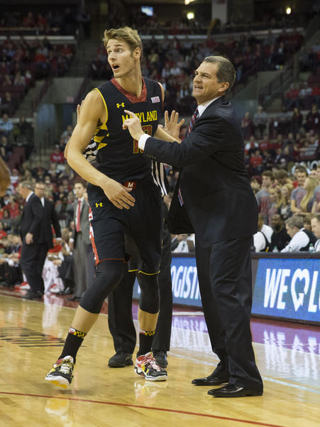 Terps head coach Mark Turgeon sends forward Jake Layman into the game against Ohio State.