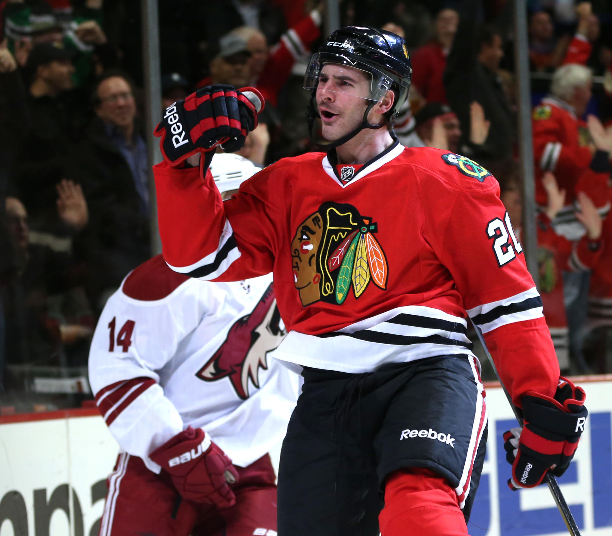 Brandon Saad celebrates his goal in the first period at the United Center.