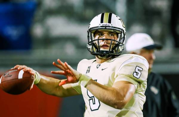 UCF quarterback Blake Bortles warms up before the start of a game against Rutgers at Bright House Networks Stadium.