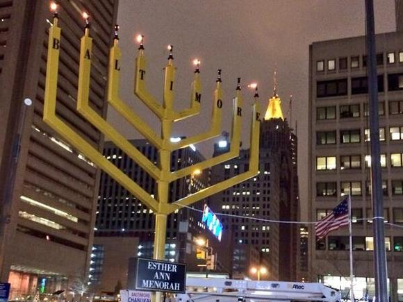 The menorah in downtown Baltimore is fully lit Wednesday night to signify the final day of Hanukkah.