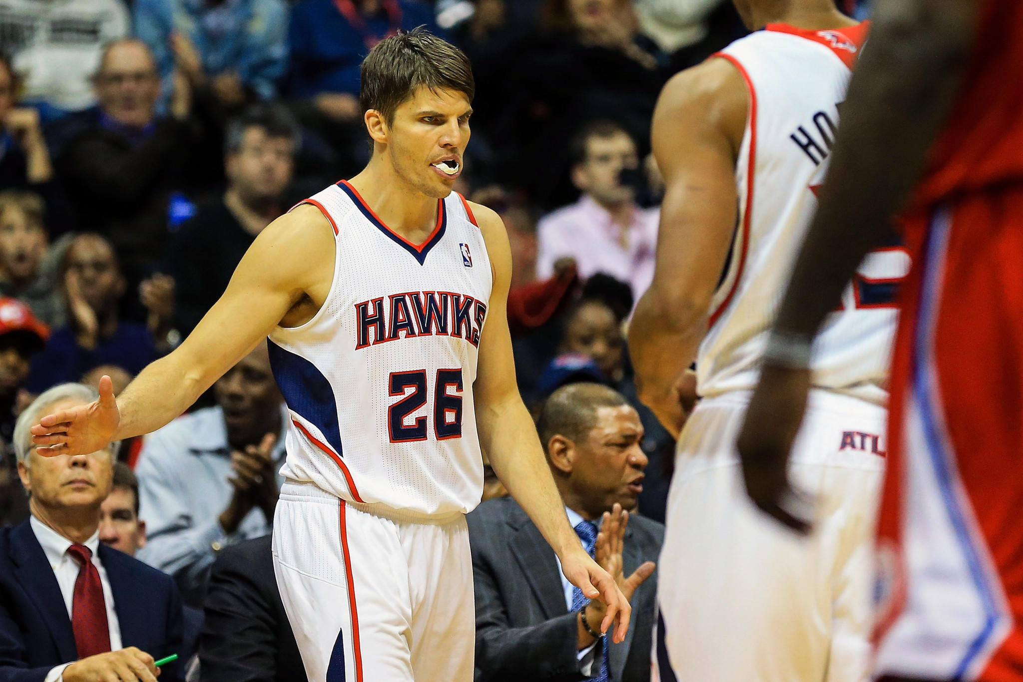 Hawks shooting guard Kyle Korver celebrates shooting a three in the second half against the Clippers.