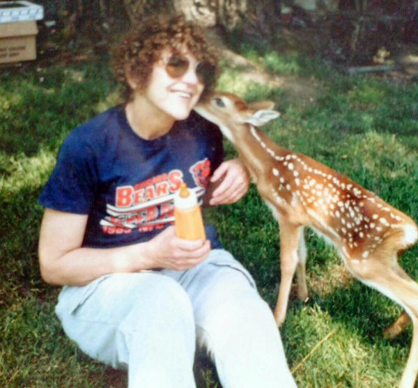 Mary Snodgrass photo for obit by Joan Kates. Family photo from 1997 of her with a baby fawn.