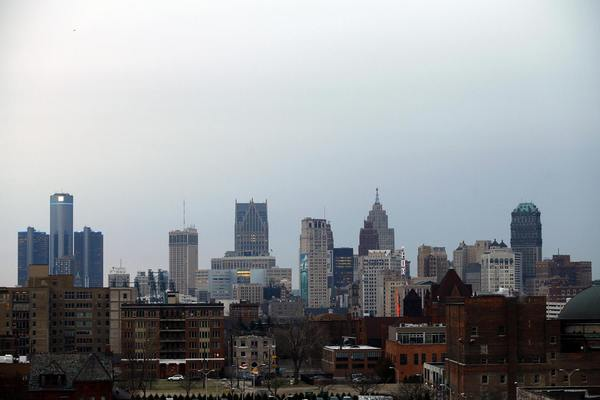 The Detroit skyline is seen from the north side of the city in Detroit, Michigan, December 3, 2013.