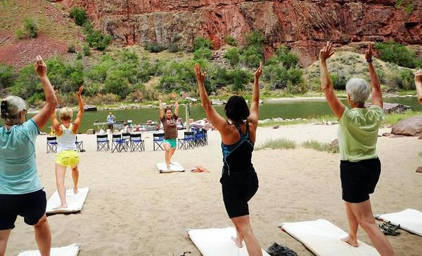 The Women's Therapeutic Yoga Adventure in June sets up camp along the Green River on beaches wide enough for yoga classes.