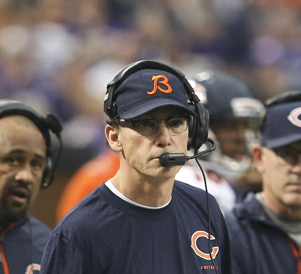 Marc Trestman during Sunday's Vikings game.
