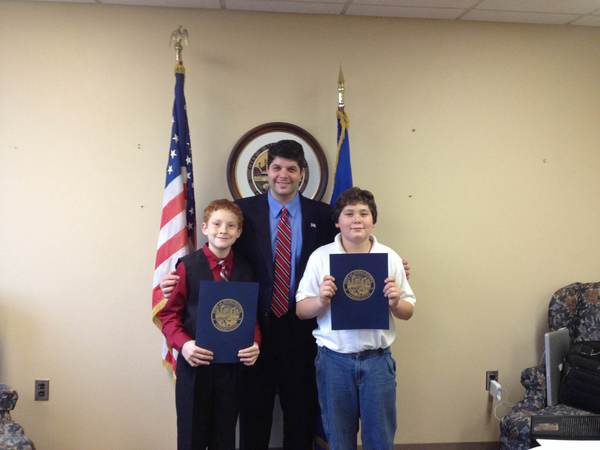 From left: Anthony Belmonte, Mayor Daniel Drew and Noah Anderson