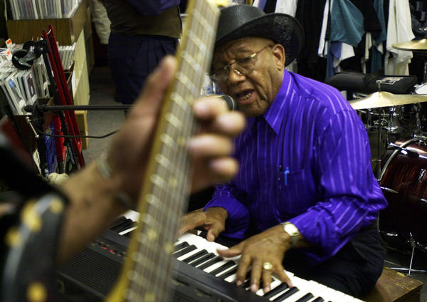 Aaron Moore plays during the 6th annual Blues Brunch at Jazz Record Mart in Chicago.