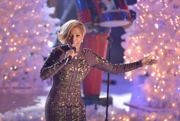 Mary J. Blige performs during Wednesday's Rockefeller Center Christmas Tree Lighting Ceremony in New York City.
