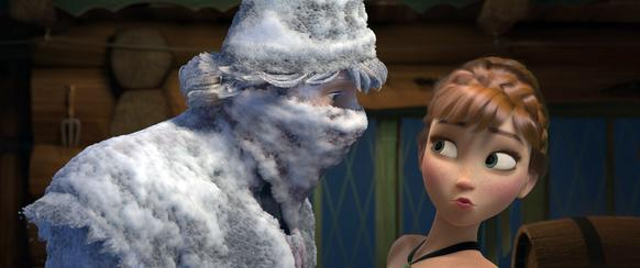 "Fearless optimist Anna meets rugged-and snow-covered-mountain man Kristoff for the first time in Walt Disney Animation Studio's ""Frozen."""