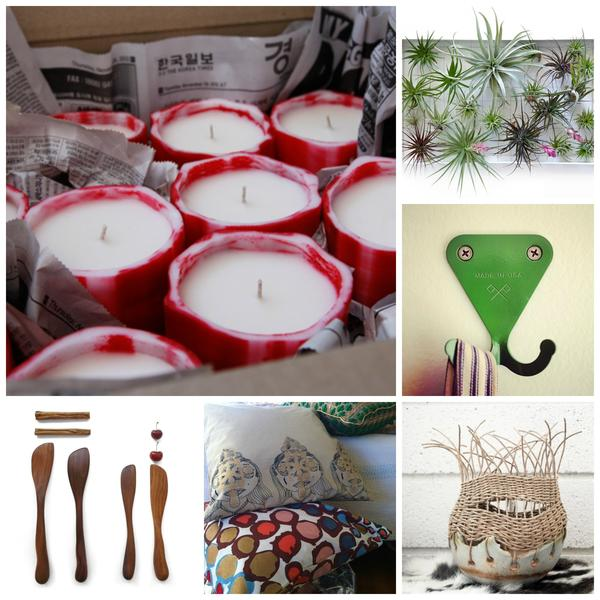 Featured vendors at the Remodelista Holiday Market include, clockwise from top left: Le Feu de l'Eau, Airplantman, Scout Regalia, TW Workshop, Erica Tanov and Knotwork LA.